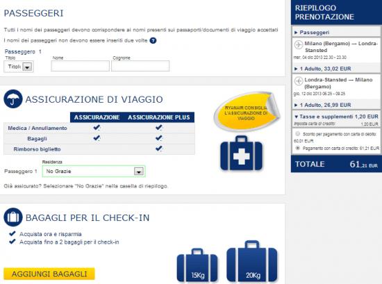 Prenotazione Ryanair, fase 3