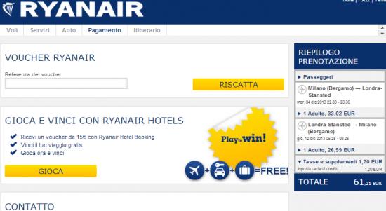 Ultimo passaggio prenotazione voli Ryanair